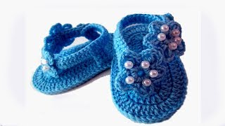 DIY baby booties sandals //Vasilisa