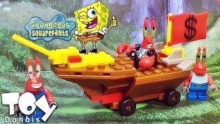 getlinkyoutube.com-스폰지밥 집게사장 해적보트 레이싱카 레이서팩 메가블럭 레고 호환 조립 리뷰 megablock spongebob mr. Krabs Racer
