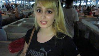 Girl visits Fish Market in Dubai