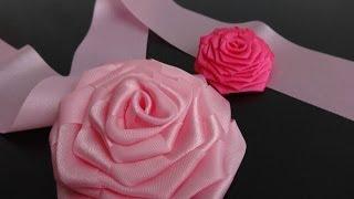 getlinkyoutube.com-Роза из цельной ленты.Мастер-класс./Ribbon Rose/