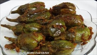 getlinkyoutube.com-Stuffed Brinjal Curry Recipe-Stuffed Baingan Curry Recipe-Stuffed Kathirikai By Healthy Food Kitchen