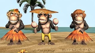 Funny Happy Birthday Song. Monkeys sing Happy Birthday To You width=