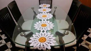 getlinkyoutube.com-Margaritas🌼 en camino de mesa#2 en crochet