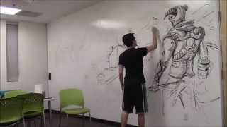 getlinkyoutube.com-Amazing HUGE Skyrim drawing!!! Using only an expo marker [Time Lapse]