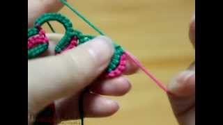 getlinkyoutube.com-Fireweed Tatting Class, Block tatting with two color, 블럭 태팅