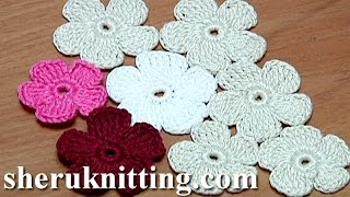 getlinkyoutube.com-Crochet Simple Five-Petal Flat Flower Tutorial 28 Part 1 of 2 Crochet Fiore