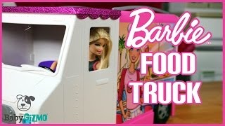 getlinkyoutube.com-Barbie Food Truck Toy Unboxing by Junior Gizmo