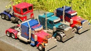 getlinkyoutube.com-Transformers Optimus Prime 4 Vehicle Transformation Robot Car Toys 트랜스포머 옵티머스 프라임 4대 자동차 장난감 변신 동영상