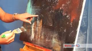 getlinkyoutube.com-BastelzeitTV 72 - Acrylbild Schnecke mit Strukturpaste und Patina