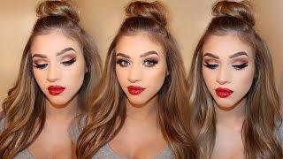 getlinkyoutube.com-Christmas Makeup | Warm Eyes & Classic Red Lips Tutorial