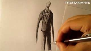 getlinkyoutube.com-Cómo dibujar a Slenderman a lápiz paso a paso, how to draw Slenderman HD