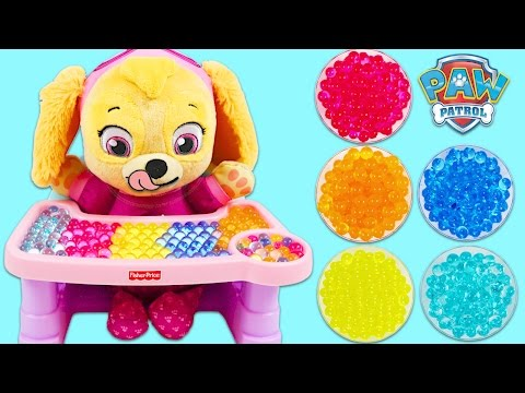 LEARN COLORS Paw Patrol Pup Baby Skye Eats ORBEEZ Best Learning Colors Video for Children!