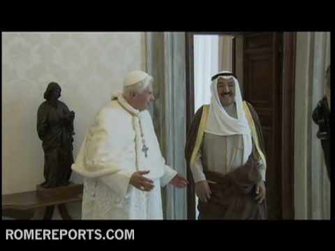 The Emir of Kuwait gives two carpets to Benedict XVI