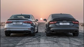 DRAGRACE: AUDI RS3 SEDAN vs AUDI RS7 PERFORMANCE - Who's the Audi RS king?