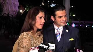 getlinkyoutube.com-Karan Patel and Ankita talk to Media at Their Wedding Reception