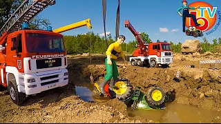 BRUDER traktor John Deere FALLS into the river!  Rescue mission!
