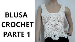 getlinkyoutube.com-Blusa con Flores Parte1 en tejido crochet tutorial paso a paso.