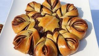 getlinkyoutube.com-Brioche au chocolat بريوش الوردة بالشكلاطة Brioche star