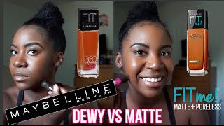 getlinkyoutube.com-Maybelline Fit Me: Dewy vs Matte Foundation Demo