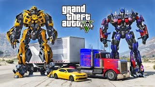 getlinkyoutube.com-OPTIMUS PRIME VS BUMBLEBEE - GTA 5 TRANSFORMERS MOD !!!