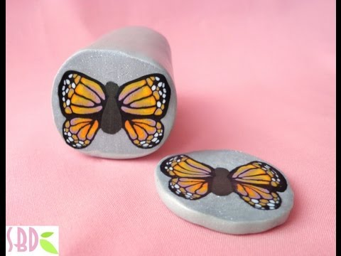 Millefiori cane Farfalla - Butterfly millefiori cane (polymer clay) [ENG SUB]