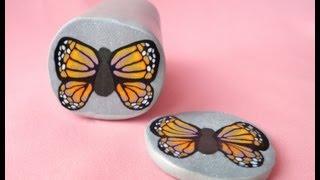 getlinkyoutube.com-Millefiori cane Farfalla - Butterfly millefiori cane (polymer clay) [ENG SUB]