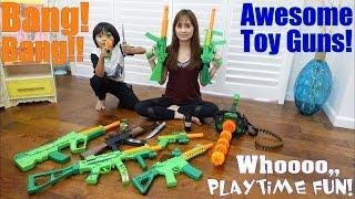 Toy Gun Collection! Pistols, Machine Guns, Gatling Gun and More! A Trip to a Firing Range