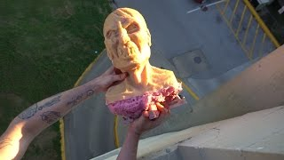 getlinkyoutube.com-Can a Zombie survive a 50 foot drop test?   Zombie Go Boom