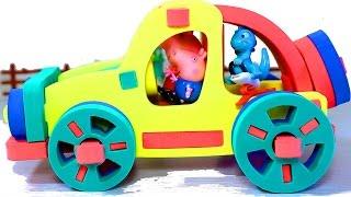 getlinkyoutube.com-Свинка Пеппа. Peppa Pig. 3D пазл машинка  Пеппы и Джорджа. Мультфильмы для детей