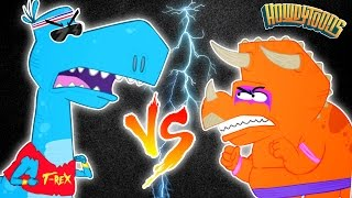 T-Rex VS Triceratops | Dinosaur Battles | Dinosaur Songs MEGA Mix By Howdytoons