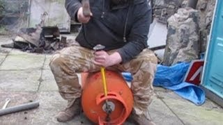 getlinkyoutube.com-Propane Gas  Tank Valve Removal - Rocket Stove Heater - Pot Belly Stove