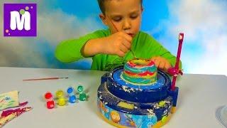 getlinkyoutube.com-Макс лепит чашу на гончарном круге и красит красками Make a cup on pottery wheel and pait it