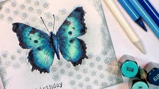 getlinkyoutube.com-How to color a blue butterfly with Spectrum Noir Markers