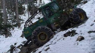 getlinkyoutube.com-TIMBERJACK 460 SKIDDER débardage EXTRÊME 2 sur terrain gelé dans un mur [HD] METIER DE L'EXTREME