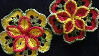 getlinkyoutube.com-Объёмный цветок из квадратов Volumetric flower of squares Crocheting