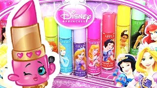 getlinkyoutube.com-Shopkins Disney Princess Lippy Lips Opening - Beauty Lip Glosses Review! Unboxing