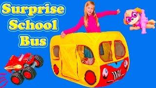 getlinkyoutube.com-SURPRISE SCHOOL BUS Tent Paw Patrol + Blaze + Lion Guard + Peppa Pig  Worlds Largest Toys Video