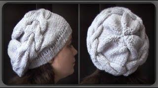 getlinkyoutube.com-женская шапка с большой косой. вязание спицами
