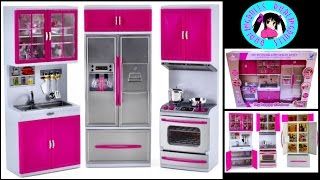 getlinkyoutube.com-Barbie/12 inch Dolls /My Modern Kitchen Playset Unboxing by DarlingDolls