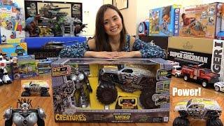getlinkyoutube.com-Monster Jam Creatures! Maximum Destruction Remote Control Truck Toy Unboxing & Playtime
