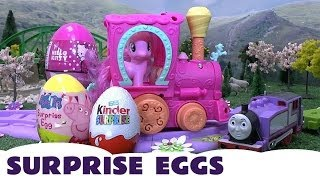 Peppa Pig Kinder Surprise Eggs My Little Pony Hello Kitty Thomas The Train Rosie MLP Kids Train Set