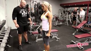 getlinkyoutube.com-Bikini Sports Model Sarah Allen trains legs , Butt Abs with Jon Davie - Full video
