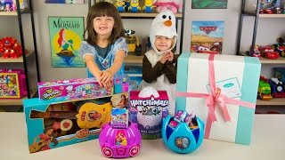 getlinkyoutube.com-HUGE Frozen Surprise Bucket Disney Princess Surprise Toys for Girls Hatchimals Kinder Playtime