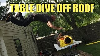 getlinkyoutube.com-TABLE DIVE OFF ROOF!! EPIC Backyard Wrestling Match