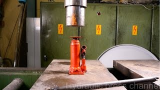 getlinkyoutube.com-Crushing bottle jack and blast shield with hydraulic press