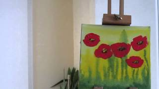getlinkyoutube.com-Tanja Bell How to Paint Flowers Poppies Tutorial Palette Knife Painting Technique Lesson Demo