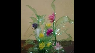 getlinkyoutube.com-Best Out Of Waste Plastic Colourful Floral Showpiece