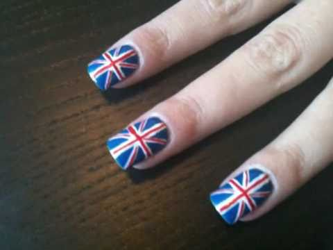 Union Jack (British flag) nail art tutorial - Royal wedding, olympics or casual