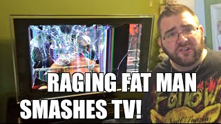 getlinkyoutube.com-FAT MAN RAGES AT WWE 2K16 DESTROYS Sony HD TV