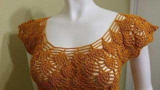 getlinkyoutube.com-Blusa Fácil con Piñas Crochet